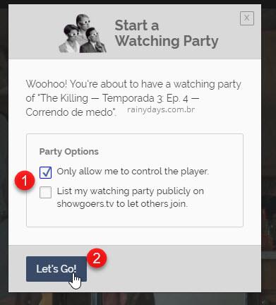 Opções do Showgoers Netflix Chrome