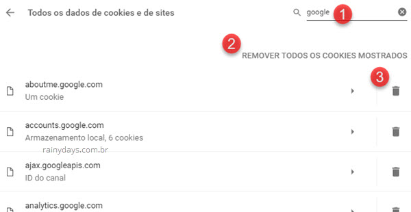 Remover todos os cookies de sites específicos Chrome