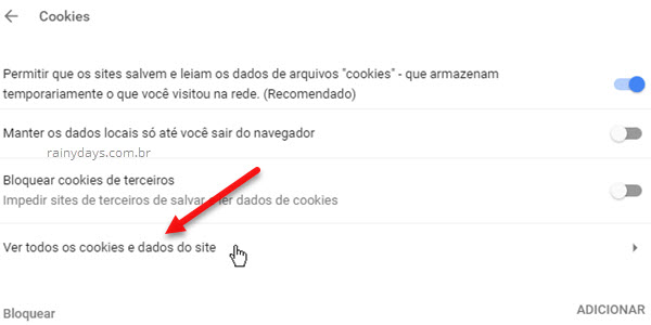 Ver todos os cookies e dados do site Chrome