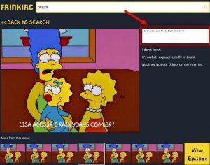 Busca por capturas de tela dos Simpsons (Frinkiac)