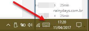 botão do teclado virtual na Barra de Tarefas Windows