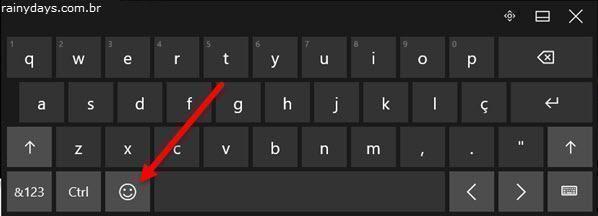 botão emoji no teclado virtual do Windows