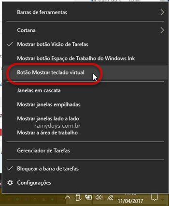 Botão Mostrar teclado virtual no Windows