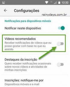 Desativar notificações de recomendações do YouTube