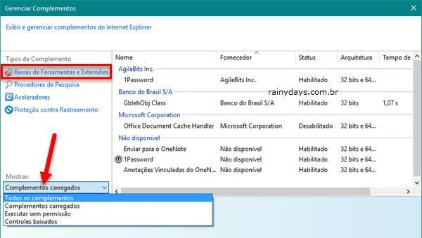 Desinstalar extensões no Internet Explorer 2
