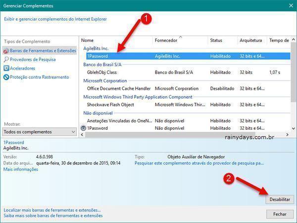 Desinstalar extensões no Internet Explorer 3
