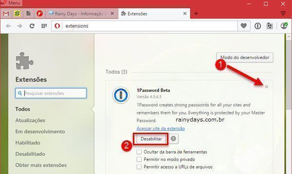 Desinstalar extensões nos navegadores