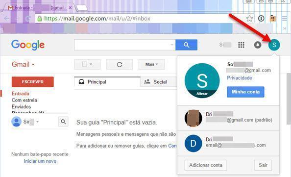 Fazer login em outra conta do Gmail 4
