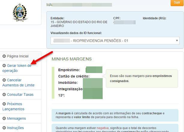 gerar código para empréstimo consignado Rio Previdência 1