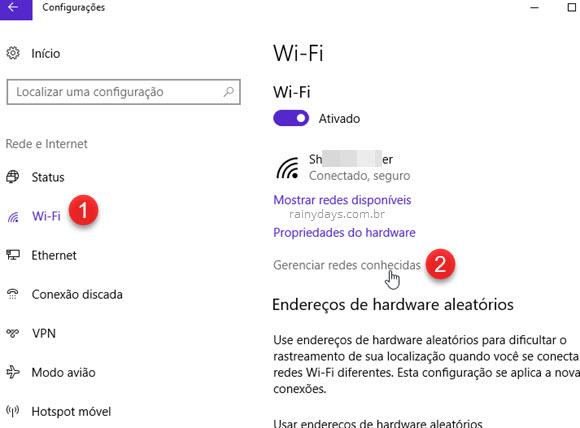 Gerenciar redes conhecidas wi-fi Windows