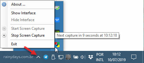 ícone Auto Screen Capture na bandeja sistema do Windows