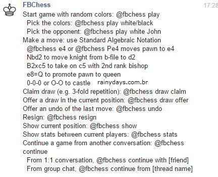 Jogar xadrez pelo Facebook Messenger 3
