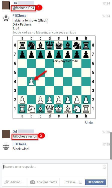 Jogar xadrez pelo Facebook Messenger