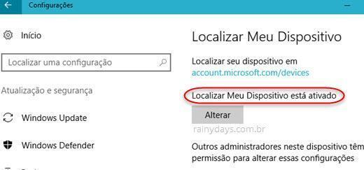Localizar meu dispositivo está ativado Windows