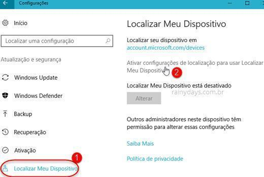 Localizar meu dispositivo Windows 10