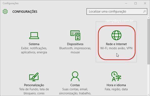 Rede e Internet do Windows