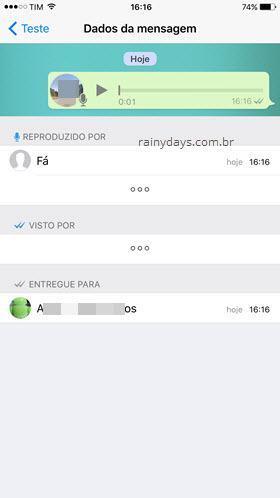 daber quem escutou mensagem de áudio grupo Zap iPhone