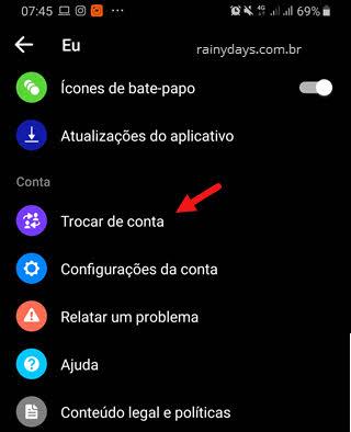 Trocar de conta no app Messenger