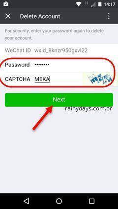 Excluir conta do WeChat