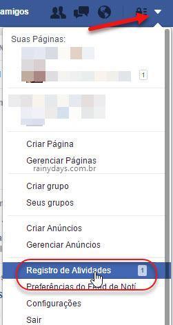 botão Registro de Atividades do Facebook