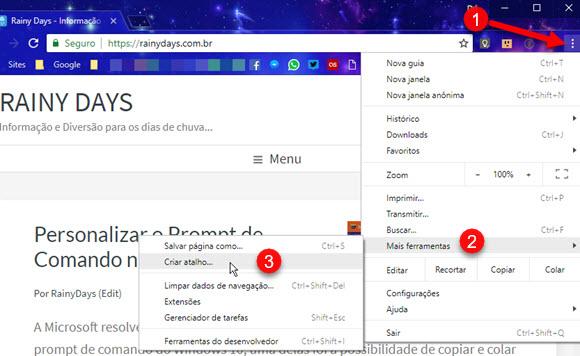 Chrome Mais Ferramentas Criar atalho de site