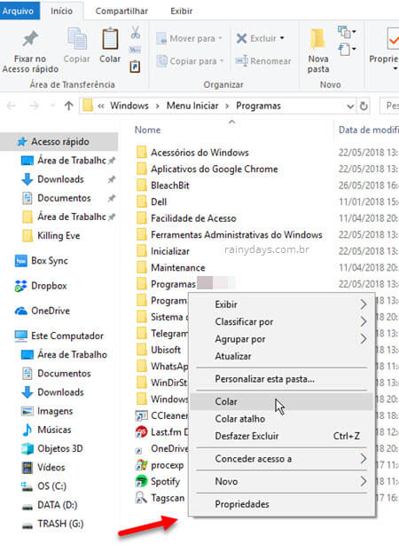Colar atalho do site no menu iniciar do Windows