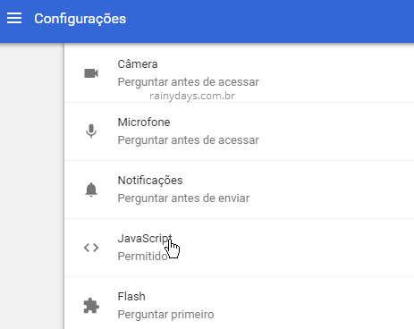 Configurações de conteúdo JavaScript Chrome