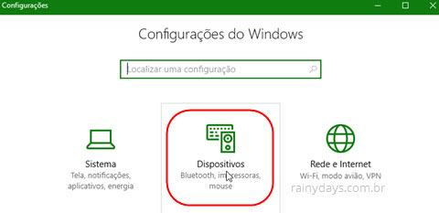 configurações de Dispositivos Windows 10