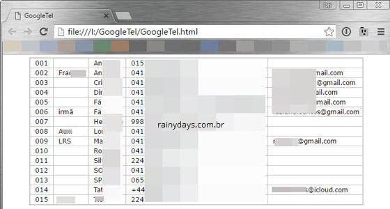 Criar lista de contatos do Google em HTML 6