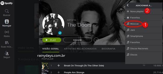 Criar playlists no Spotify Web Player 5