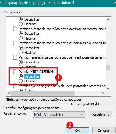 desabilitar meta refresh no Internet Explorer