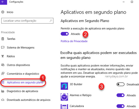 Desativar apps em segundo plano no Windows 10