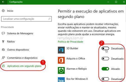 desativar apps em segundo plano no Windows 10