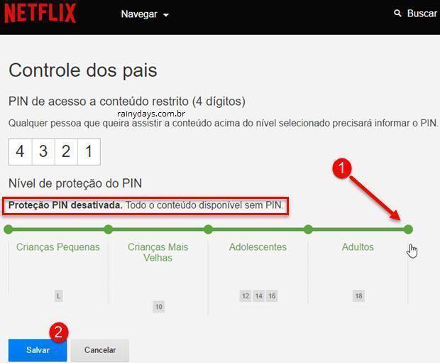 desativar controle dos pais no Netflix