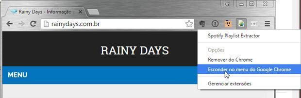 Esconder as extensões da barra do Chrome 3