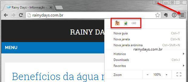 Esconder as extensões da barra do Chrome 4
