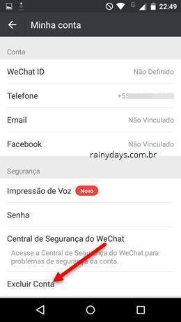 excluir conta do WeChat 3