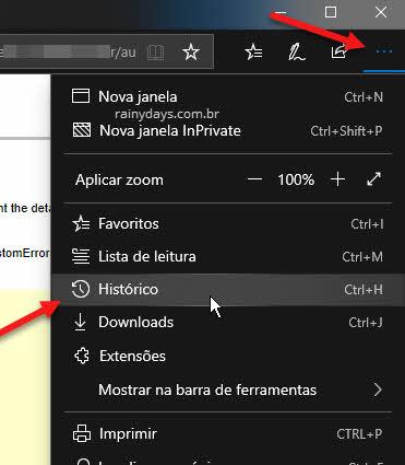 ícone três bolinhas Histórico Microsoft Edge