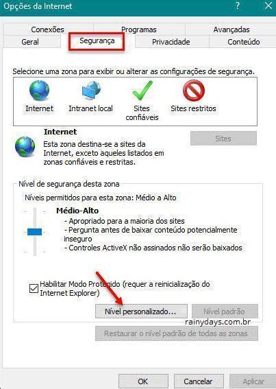 segurança nivel personalizado Internet Explorer