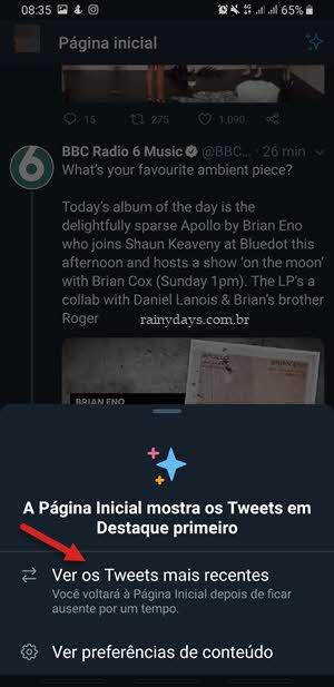 ver os Tweets mais recentes app Twitter