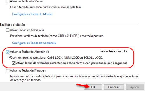 ativar teclas de alternânica no Windows 7