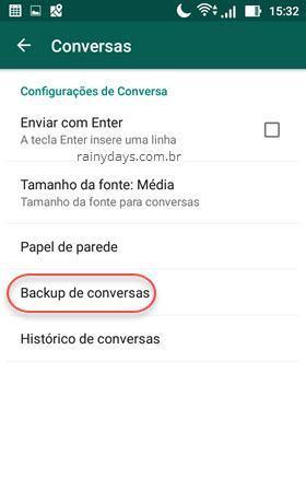 Backup de conversas do WhatsApp