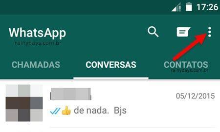 Botão de três bolinhas do WhatsApp