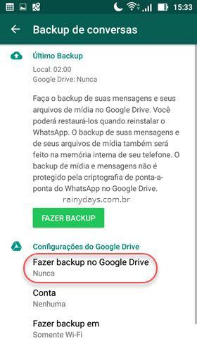 Como Fazer backup do WhatsApp no Google Drive 1