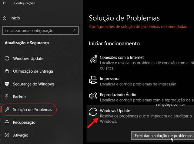 Config atualização Solução de Problemas Windows