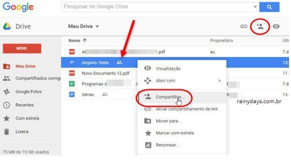 Desativar compartilhamento no Google Drive