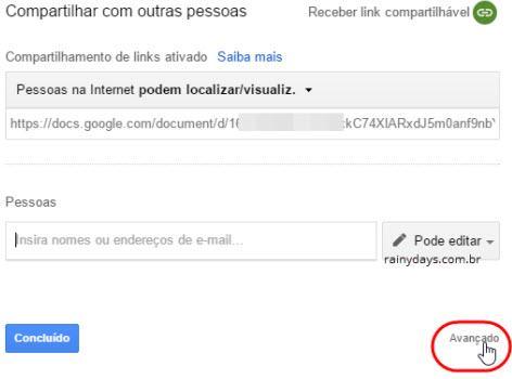 Desativar compartilhamento no Google Drive 2