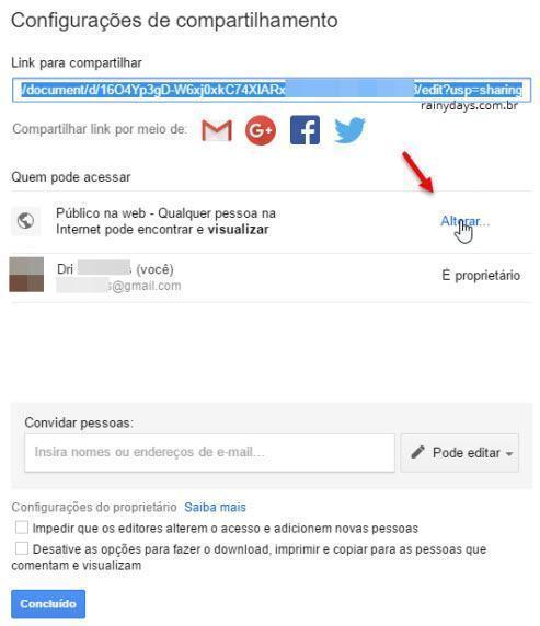 Desativar compartilhamento no Google Drive 3