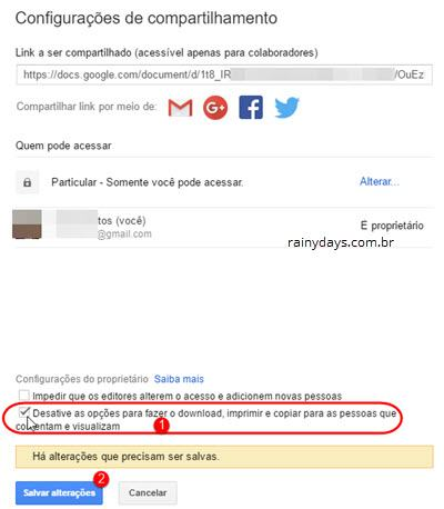 Desativar download de arquivo no Google Drive 2