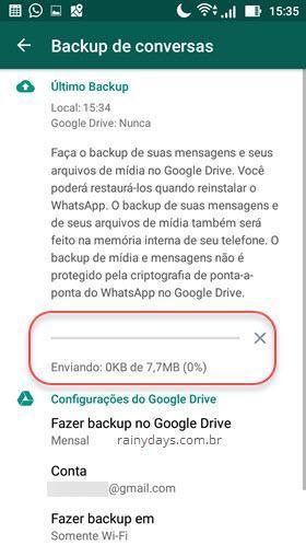 Envio de conversas do WhatsApp para Google Drive